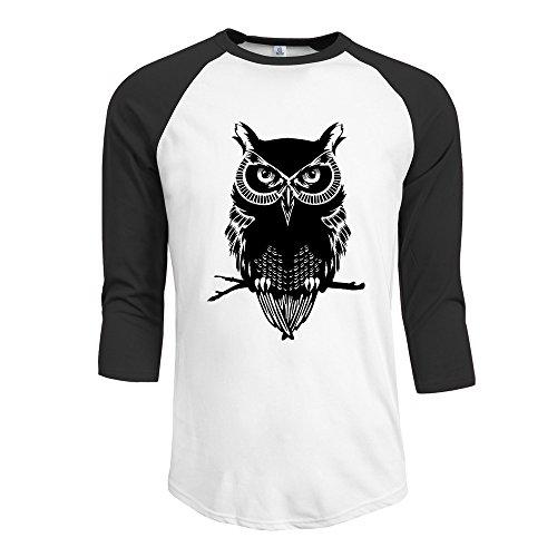 Bro-Custom Black Ovo Owl Men Essential Raglan Tshirt Size SBlack