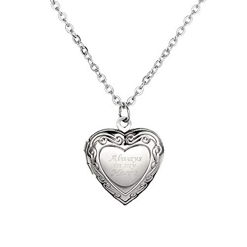 PANGRUI Personalized Custom Heart Locket That Holds Pictures Openable Photo Always in My Heart Pendant Necklace for Lovers Customized(Silver)