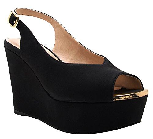 Cambridge Selezionare Donna Peep Toe Fibbia Slingback Alta Piattaforma Sandalo Con Zeppa Nero Nbpu