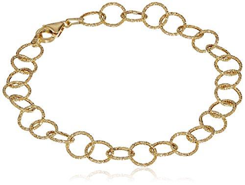 14k Yellow Gold 8mm Diamond Cut Circle Links Bracelet, 7