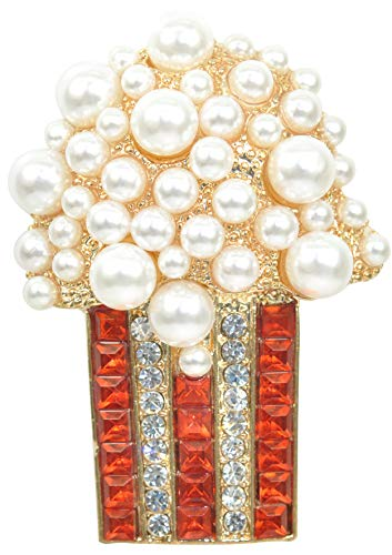 Gyn&Joy Golden Tone Red and Clear Crystal Colored Rhinestones Faux Pearl Popcorn Brooch Pin BZ155 - Golden Pearl Brooch