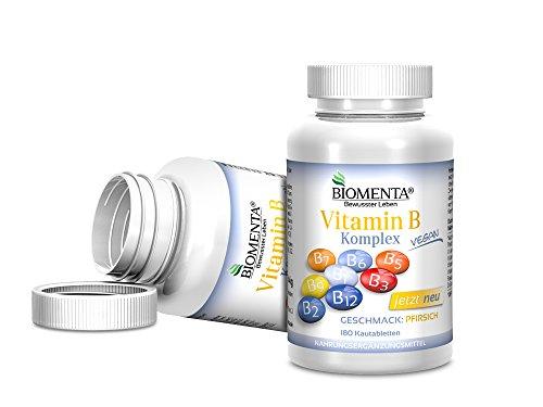 Biomenta® Vitamin B-Komplex   8 Wertvolle B-Vitamine in 180 hochdosierten Kautabletten   8 B-Vitamine: Thiamin, Riboflavin, Niacin, Pantothensäure, Pyridoxin, Biotin, Folsäure & Vitamin B12