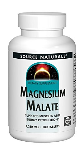 180 Malate Magnesium Tablets - Source Naturals Magnesium Malate 1250mg Per Serving Essential Magnesium Malic Acid Supplement - 180 Tablets