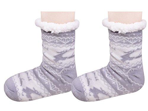 Kerst Fuzzy Warme Slippers Slaapkamer Schoenen Antislip Lange Slipper Sokken Voor Vrouwen Grijs