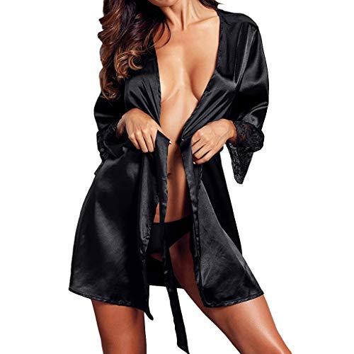 - Ceinture Chemise de Nuit Col Noir Rouge Demi V Dessus Du Genou Solide Mode Patchwork Avec Femmes Taille Blanc Manches Good Texture