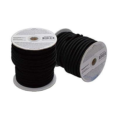 Basics 1/4-Inch by 50-Feet Elastic Bungee Shock Cord, Black, 2-Pack