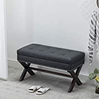 Guyou Fabric Storage Benches Distressed Pattern PU Leather Bedroom Bench X Shape Legs with Nailhead Decor (Charcol)
