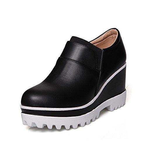 Musta kengät Korkokenkiä Suljetun Ympäri pumppuihin Kiinteä Toe Allhqfashion Pu Pull Naisten qwzv77I
