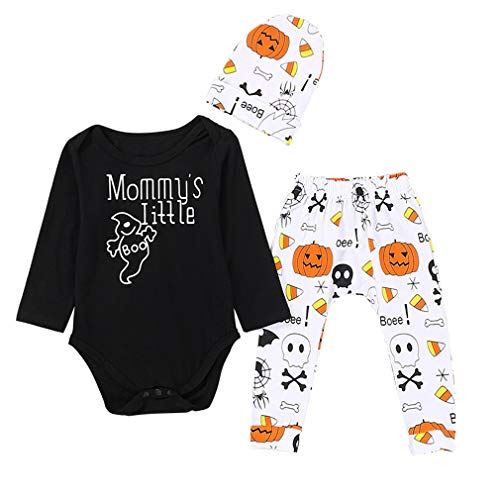 Baby Boys Halloween Clothes Infant Baby Boy Pumpkin Skull Print Bodysuit++Hat + Pant Outfit (Mommy's Little Pumpkin Romper, 0-6M) -
