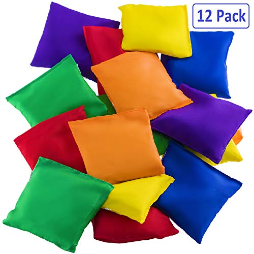 Prextex 12 Pack Nylon Bean Bags Fun Sports Outdoor Family Games Bean Bag Toss Carnival Toy Bean Bag Toss Game (The Best Bean Bag)