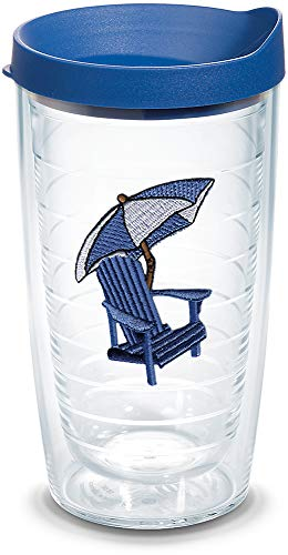 Adirondack Tumbler Chair - Tervis 1075911 Adirondack Chair - Blue Tumbler with Emblem and Blue Lid 16oz, Clear