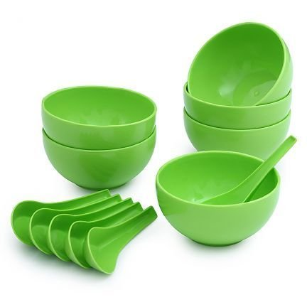Round Big Soup Bowl with Spoon Set, Green, 12 Pieces  Microwave Safe
