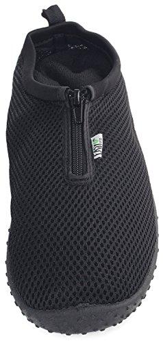 Einfache USA Männer Wasser Schuhe Reißverschluss Nylon Gummisohle Outdoor Sports Zip-schwarz
