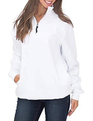 SEBOWEL Women's Casual Pullover Sweatshirt Quarter Zip Shirt Blouses Tops Pocket White L (Zip Hoodie Faith)