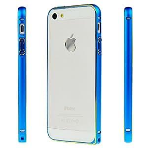 LAUNSUNS Premium Ultra Thin Slim Aluminum Alloy Metal Gold Edge Frame Bumper Cover Case for iPhone 5 5S (Blue)