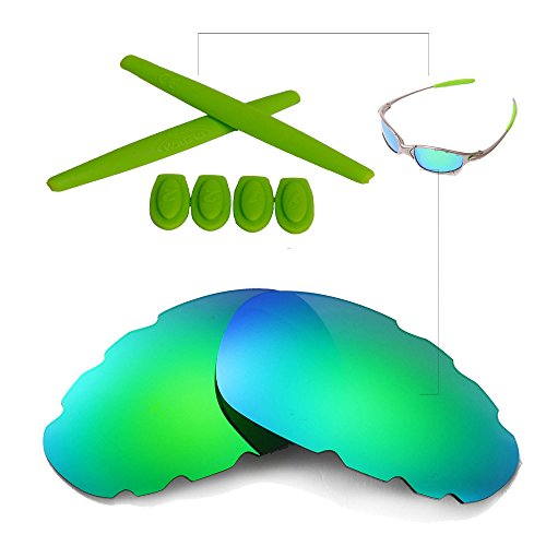 Walleva Polarized Vented Lenses And Rubber For Oakley Juliet - Multiple Options Available (Emerald Polarized Vented Lenses + Green - Accesories Oakley