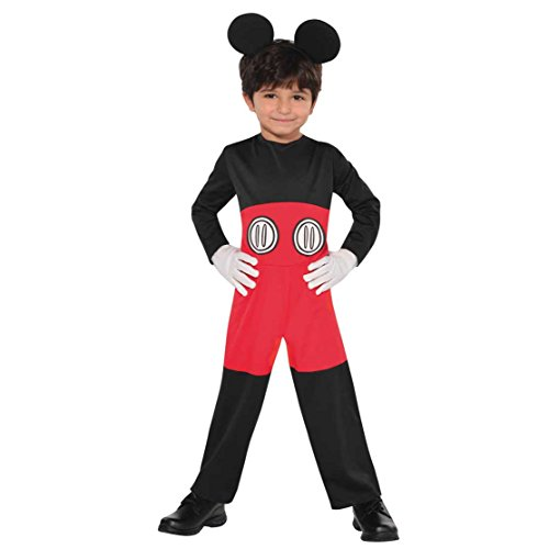 Disney Mickey Mouse Birthday Party Small 4-6 Children Costume And Accessory Party Set Favour, Pack Of 2, Black/Red , Child Small 4-6, Fabric