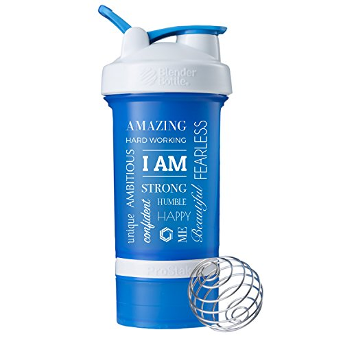 """I Am"" Word Mesh on BlenderBottle brand ProStak shaker cup, 22-oz. protein shaker bottle with BlenderBall whisk and 2 Twist n' Lock attachable containers (Cyan/White)"
