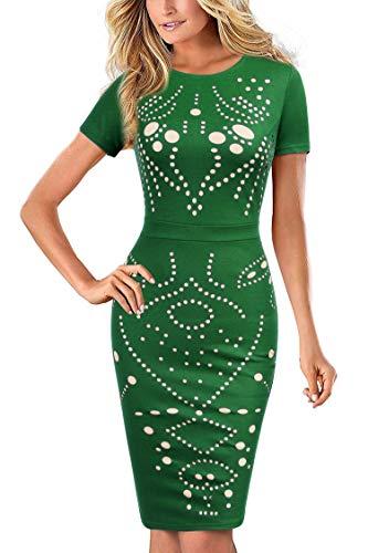 Mmondschein Women Cap Sleeves Hollow Out Lining Work Party Pencil Dress Green XXL