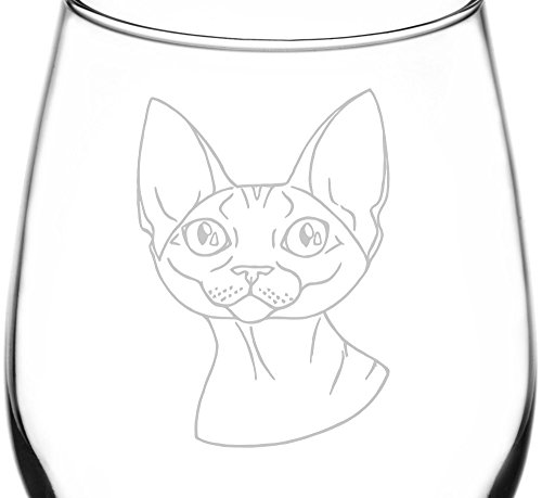 (Devon Rex) Realistic Cat Breed Face Inspired - Laser Engraved 12.75oz Libbey All-Purpose Wine Taster Glass -