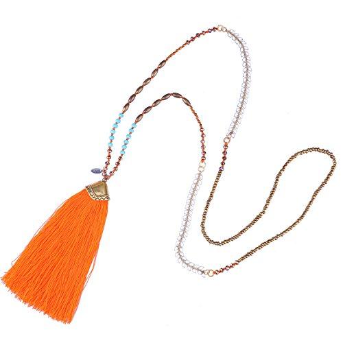 Pendant Orange Necklace - KELITCH Turquoise Crystal Beaded Necklace Tassel Layering Style Pendant Necklace Fashion women new Jewelry (Orange)