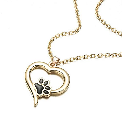 (Mikash New Silver Pet Lover Necklace Puppy Dog Cat Paw Print Pendant Heart Chain Xmas | Model NCKLCS - 37788 |)