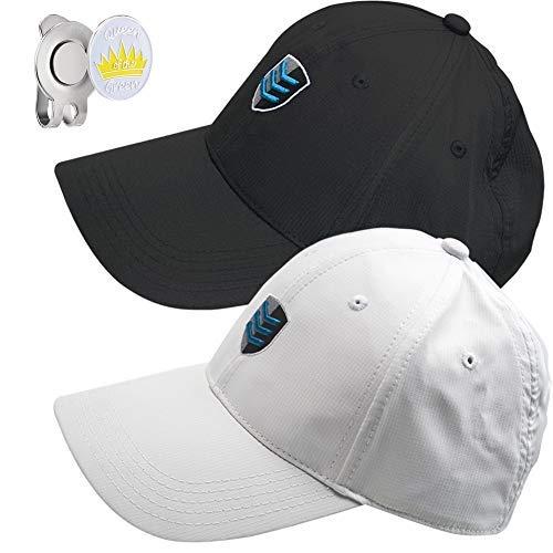(CAITON Golf Hats, Inside Adjustable Belt Cap Hat Golf Ball Marker Hat Clip for Men Women Stretch Fit 2 Pack (Black &)