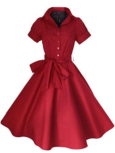 34 Cocktailkleid Kleid EU 48 Rockabilly Größen Retro the Abend Party Rot Vintage Look for 50er Jahre Stars Stil Sommerkleid waOPTZxqX