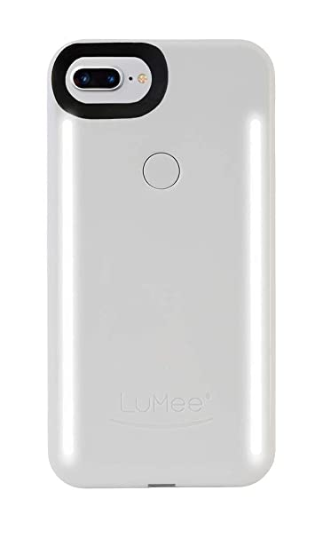 more photos 8b01d 10651 LuMee Duo Phone Case, White Glossy | Front & Back LED Lighting, Variable  Dimmer | Shock Absorption, Bumper Case, Selfie Phone Case | iPhone 8+ / ...