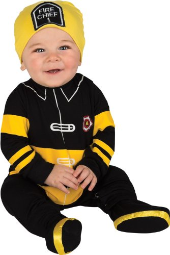 Rubie's Costume Baby's First Halloween Fire Fighter One-Piece Printed Jumper Hat and Booties, Black/Yellow, 6-12 Months - Black Fire Chief Hat