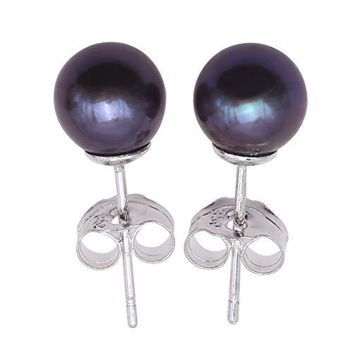 JYX Pearl Earrings 7mm Black Round Freshwater Pearl Studs Earrings (7.0mm) (7mm Black Pearl Earrings)