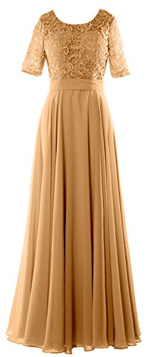 MACloth Elegant Half Sleeve Long Mother of Bride Dress Lace Formal Evening Gown Gold