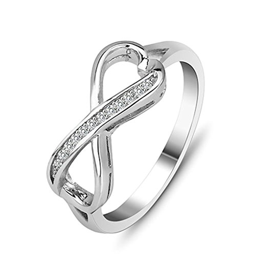 Daesar Silver Plated Wedding Bands Womens CZ Infinity Rings Eternity Ring for Her - Planet Blue Birmingham