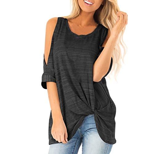 (Cute Tops for Women,YEZIJIN Womens Short Sleeve Dew Shoulder Striped Print Tee Casual Blouse T-Shirt Tops 2019 Black)