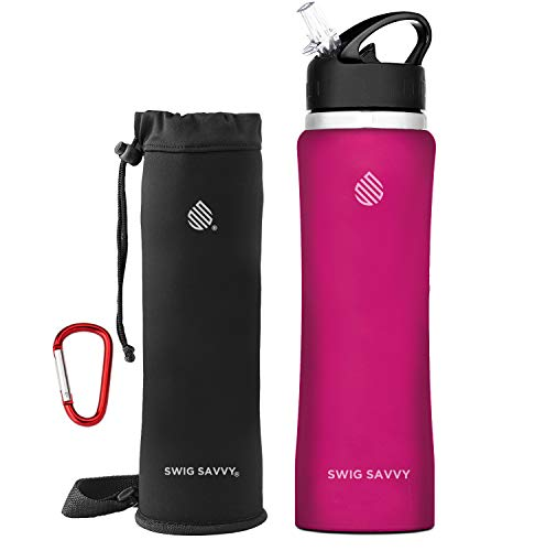 Swig Savvy Stainless Steel Insulated Leak Proof Flip Top Straw Cap Water Bottles with Pouch & Clip, Red, 24oz
