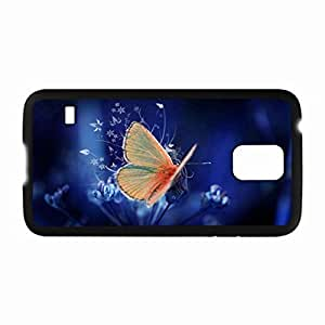 Customized Back Cover Case For Samsung Galaxy S5 Hardshell Case, Black Back Cover Design Butterfly Personalized Unique Case For Samsung S5