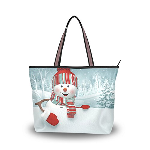JSTEL Women Large Tote Top Handle Shoulder Bags 3D Cartoon Snowman Christmas Patern Ladies Handbag Christmas Purse