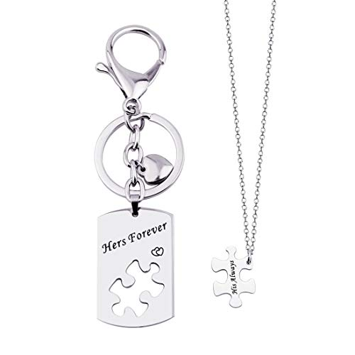 KUIYAI His Always Hers Forever Puzzle Piece Necklaces Keychain Set for Couples ()