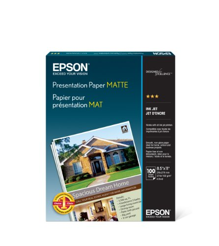 Epson S041062 Matte Presentation Paper, 27 lbs, Matte, 8-1/2 x 11 (Pack of 100 Sheets) - Matte Coated Paper