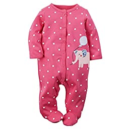 Carter\'s Baby Girls\' 1 Pc Cotton Sleep & Play (6 Months, Pink Elephant)