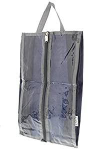 Travel Shoe Bag - Nylon Travel Storage Cases for Shoes and Boots with Zipper Closure and Clear Windows, 15 x 6 Inches, Set of 2 by Juvale by Juvale