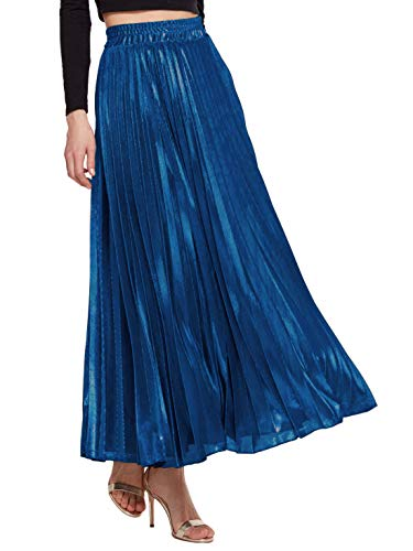 Amormio Women's Glittery Gold/Silver High-Waist Metallic Accordion Pleated Formal Party Maxi Skirt (Jewelry Blue, Large)