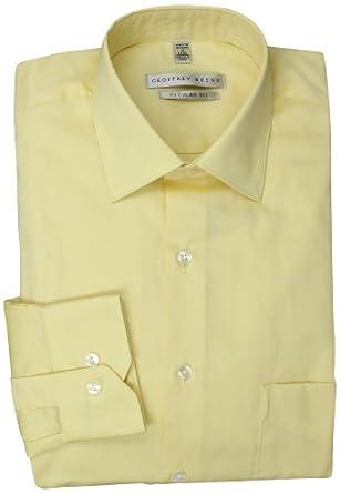 Geoffrey Beene Men's Pale Yellow Solid Dress Shirt, Buttercream ...