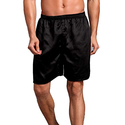 Lu's Chic Men's Satin Boxers Underwear Shorts Luxury Silk Loungewear Pajama Short Pants Black US 3XL (Tag5XL)