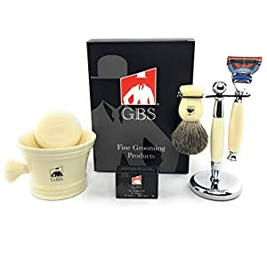 GBS Men's Grooming Set with Ivory 5 Blade Razor, Best Perfect Gift 100% Pure Badger Brush, Brush and Razor Stand, Ivory Mug with 97% All Natural Gbs Shave Soap, and GBS alum block!