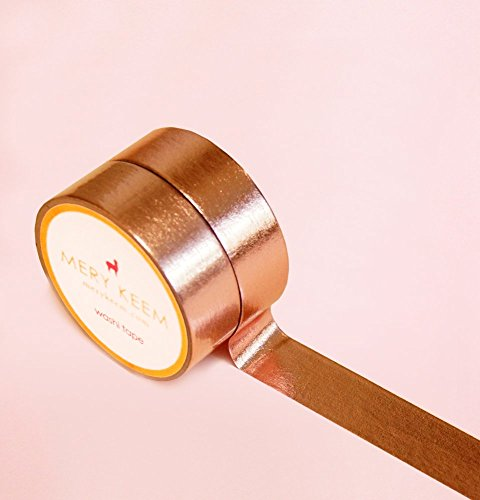 Rose Gold Foil Washi Tape for Planning • Scrapbooking • Arts Crafts • Office • Party Supplies • Gift Wrapping • Colorful Decorative • Masking Tapes • DIY from Mery Keem