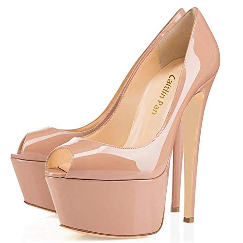 De Stiletto Tacones Super Cerrado Doble High Nude Moda Plataforma open Toe Mujer La Heels Pan Caitlin On Boda Slip Zapatos tnAxwvXqfE