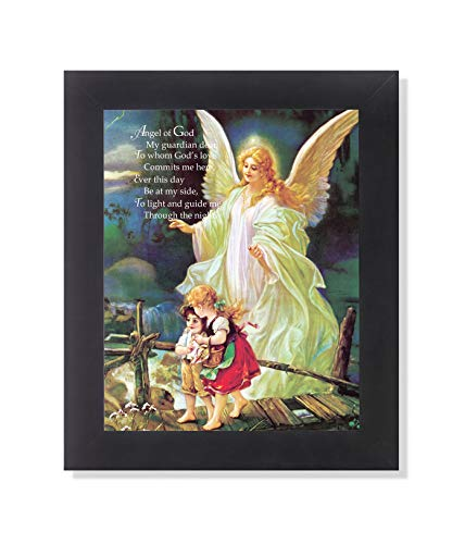 Guardian Angel Poem Children Bridge Religious Wall Picture Framed Art Print