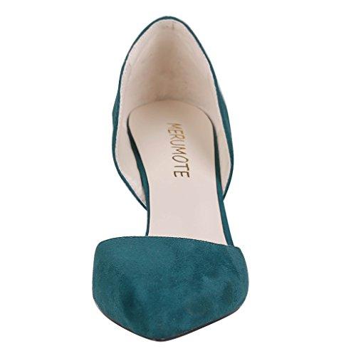 Merumote Donna Y-05044 Scarpe A Punta Tacco Medio Abito Classico Pompa Us 5.5-15 Verde Scuro-pelle Scamosciata