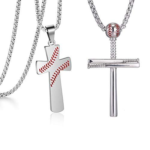 VaryLife Baseball Necklaces for Boys Graduation Gifts Sillver Cross Necklace for Mens Student Sports Pendant Stainless Steel 20